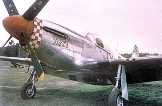 """Chalgrove Airfield - An F-6 Mustang (IX-H, serial number 42-103213) nicknamed """"'Azel"""" of the 10th Photographic Reconnaissance Group at Chalgrove Airfield."""