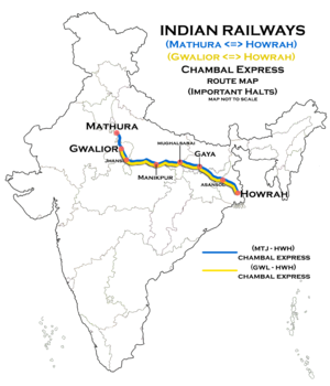 Chambal Express (Mathura - Howrah) and (Gwalior - Howrah) Route map.png