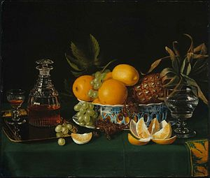 Charles Bird King - Still Life on a Green Table Cloth, ca. 1815