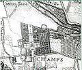 Chateau de Champs sur Marne - Partie de la carte topographique de l'Abbé Delagrive - Environs de Paris 1740.jpg