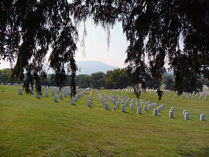 80th Illinois Volunteer Infantry Regiment - National cemetery at Chattanooga with a view of Lookout Mountain in the distance.