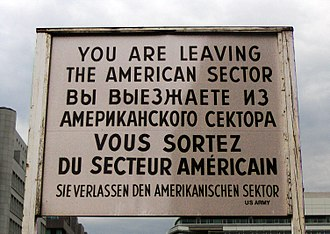 Checkpoint Charlie - Replica of the famous sign at the former East–West Berlin border