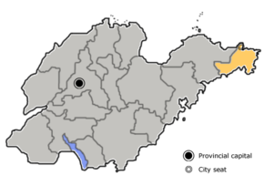 Weihai is highlighted on this map