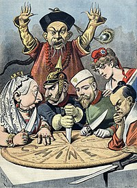 "A shocked mandarin in Manchu robe in the back, with Queen Victoria (Great Britain), Wilhelm II (Germany), Nicholas II (Russia), Marianne (France), and an Emperor Meiji (Japan) discussing how to cut up a plate with Chine (""China"" in French) written on it."