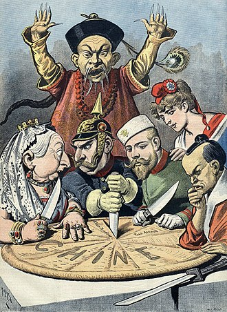 "Arthur Cassini - A shocked mandarin in Manchu robe in the back, with Queen Victoria (UK), William II (Germany), Nicholas II (Russia), Marianne (France), and a samurai (Japan) stabbing into a king cake with Chine (""China"" in French) written on it."