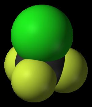 Chlorotrifluoromethane - Image: Chlorotrifluorometha ne 3D vd W