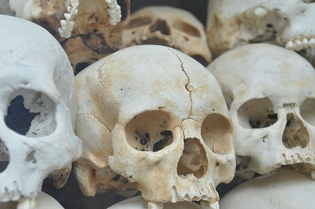 From commons.wikimedia.org: Skulls from Choeung Ek in Cambodia {MID-103950}