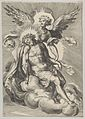 Christ supported by an angel standing on a cloud with light radiating behind them MET DP836946.jpg