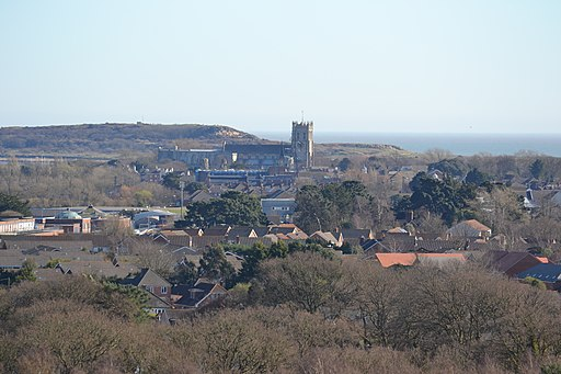 Christchurch Priory from St Catherine's Hill