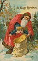 "Christmas postcard with illustration of Santa Claus attempting to insert frightened child into sack, with ""A Happy Christmas"".jpg"