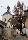 Church of St Nicholas and famous tree, Turnov (1).jpg