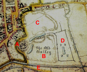 Clare Castle - Tithe map of Clare Castle in 1846: A - Motte and keep; B - Inner bailey; C - Outer bailey; D - site of former water gardens; E - New Cut (Stour)