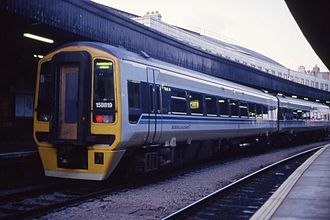 Wales & West - Image: Class 158 DMU 158819 to Portsmouth, Bristol Temple Meads 27.2.1993. (9922352786)