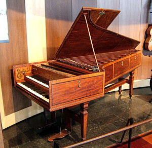 Burkat Shudi - A 1773 Shudi harpsichord equipped with Venetian swell; now in the Museum of Musical Instruments in Brussels. Click to enlarge.