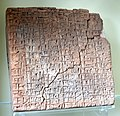 Clay tablet. List of different professions. From Shuruppak (modern Tell Fara), Iraq. Baked clay. Early Dynastic period, 2600-2500 BCE. Pergamon Museum, Berlin, Germany.jpg