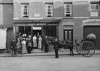 Post office - A post office in Wales, c.1910