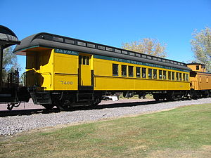 Combine car - A coach-baggage on display at the Mid-Continent Railway Museum in North Freedom, Wisconsin.