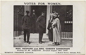 Anne Cobden-Sanderson - Cobden-Sanderson at 10 Downing Street shortly before her 1909 arrest.
