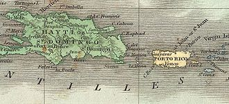 Roberto Cofresí - Map of the area where Cofresí and his men usually operated: Puerto Rico, Mona, Vieques (Crab Island), Culebra, Saona, Hispaniola and Saint Thomas
