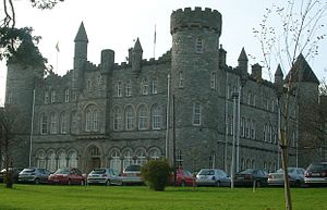Saint Eunan's College - In this photograph, taken from the front lawn of Saint Eunan's College, many of the  cars driven by staff members are visible.