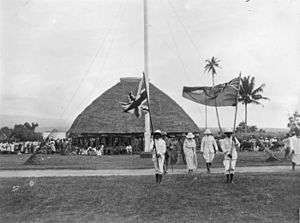 Politics of Samoa - Colonel Robert Ward Tate, NZ Resident Commissioner of Western Samoa and retinue at Mulinu'u, c. 1919-1923