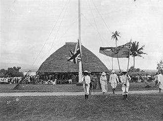 Politics of Samoa - Colonel Robert Ward Tate, NZ Resident Commissioner of Western Samoa and retinue at Mulinu'u, c. 1919-1923