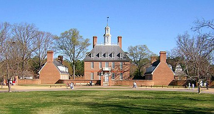 Governor's Palace, Colonial Williamsburg, Williamsburg, Virginia. Georgian architecture was used throughout the British empire during colonial times. - Architecture