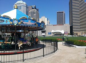 Columbus Commons - The hand-carved carousel at Columbus Commons features horses fish, a tiger, a giraffe and more.
