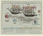Combat aërien de deux vaisseaux, chacun de 100 pièces de canon, à Arcs d'acier au lieu de poudre à canon, et de 1.000 hommes d'Equipage, l'An 100 de l'invention des Machines Aërostatiques.jpg