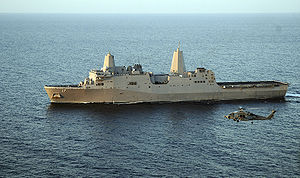 USS San Antonio - USS San Antonio in January 2009 as the CTF-151's flagship.