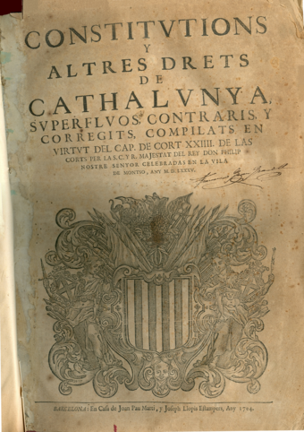 Third volume of the compilation of Catalan Constitutions of 1585 ConstCATMonso1535.png