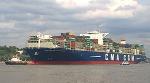 CMA CGM Benjamin Franklin - The CMA CGM Benjamin Franklin leaves the port of Hamburg in July 2016