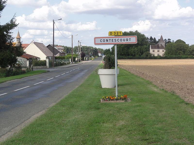 Contescourt (Aisne) city limit sign