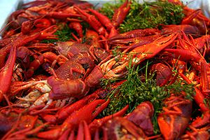 Crayfish party - Crayfish cooked with dill in the traditional manner.
