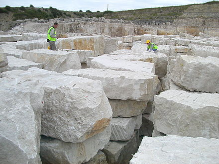 Portland stone quarry on the Isle of Portland, Dorset. CoombefieldBlocks.jpg