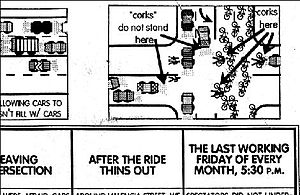 Critical Mass (cycling) - Detail from the November 20, 1992 flyer by Joel Pomerantz which introduced the concept of corking