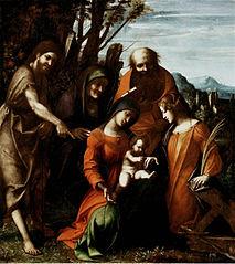Mariage mystique de sainte Catherine d'Alexandrie et trois saints dans un paysage