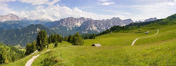 Alpine meadows under the Pütia peak, the Puez range in Val Badia, South Tyrol - Unesco World Heritage Dolomites, Puez-Geisler Nature Park.