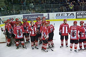 KS Cracovia (ice hockey) - Cracovia players during the 2011–12 Polska Liga Hokejowa season.