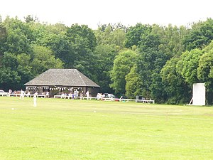 Pirbright - Cricket ground with woodland background