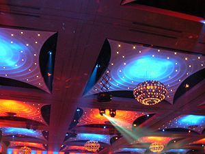 Crown Melbourne - The ornate modern ceiling of the Crown Palladium room