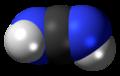 Spac-satiga modelo de la cianamidmolekulo, dimidotaŭtomer
