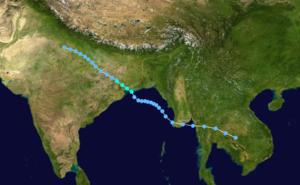 1995 North Indian Ocean cyclone season - Image: Cyclone 01B 1995 track