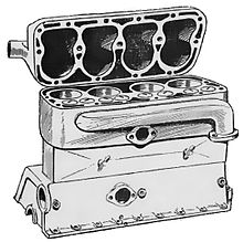 Engine cylinder block and crankcase, with the head lifted. A single water jacket is clearly visible around the upper part of the cylinders and running into the cylinder head.