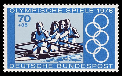 Rowing at the Olympic Games on a German Stamp for the 1976 Olympic Games DBP 1976 889 Olympia Rudern.jpg