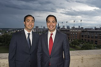 Joaquin Castro - Representative Joaquin Castro and his twin brother, then-San Antonio Mayor Julián Castro, at the LBJ Presidential Library.