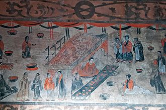 Emperor Xian of Han - Detail of a banquet scene, mural from the Dahuting Tomb (打虎亭漢墓) of the late Eastern Han dynasty, located in Zhengzhou, Henan.