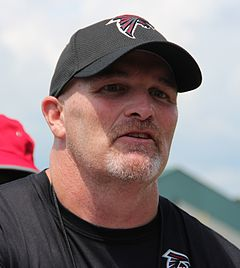 Coach Dan Quinn at Atlanta Falcons training camp