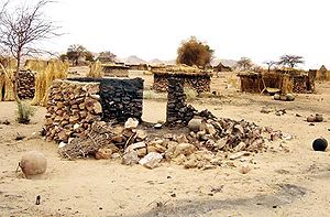 Burnt hut in Darfur