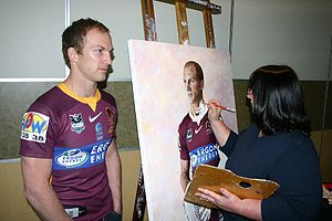 Darren Lockyer - Lockyer having his portrait painted in 2007.